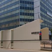 6.横断歩道の途中に市電「函館駅前」電停があります。渡り終えたら右方向、電車の線路に沿って歩きます。