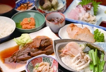 新鮮な魚介夕食
