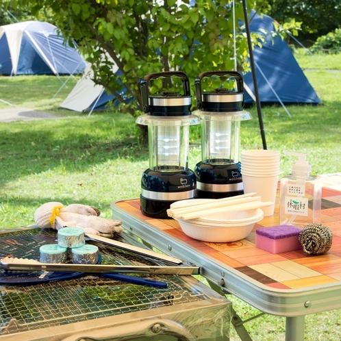 キャンプに必要な備品は全部こちらで用意します。だから初心者でも気軽にキャンプを楽しめる♪
