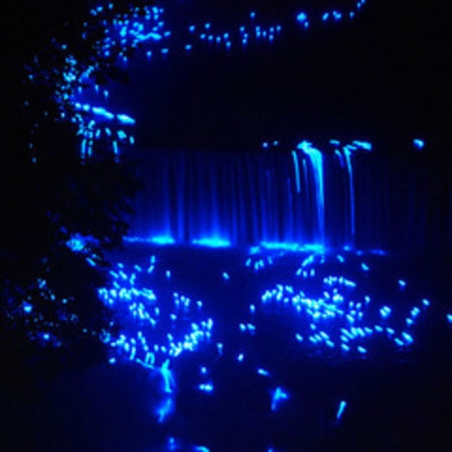 湯西川温泉かわあかり(滝を流れ落ちる光の球)
