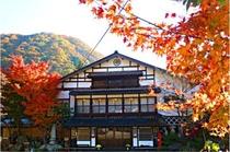 紅葉に染まる本館玄関