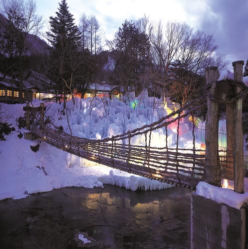 氷瀑とかずら橋