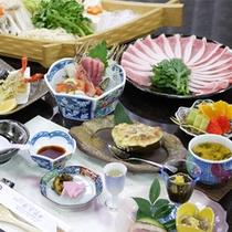 *富士桜ポークしゃぶしゃぶ会席一例/ご当地ブランド豚の美味しさを堪能出来るお勧めのコース!