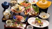 おまかせ御膳 日本海の海の幸を盛り込んだ 切ガニ・甘エビ・お造り付 お献立一例