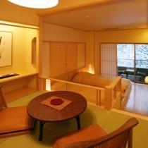メゾネット風露天風呂付和洋室【4階】畳が約4.5畳 ※お部屋の中に3~4段の階段がございます。