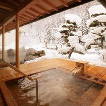大浴場「喜久の湯」 ヒバの露天風呂(冬)