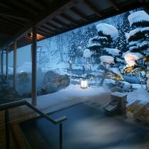 大浴場「喜久の湯」 ヒバの露天風呂(冬 夜)