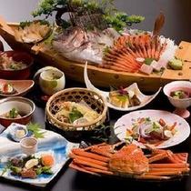 【鯛かに+あわび付会席】 ※日本海の美味しいところをうんと味わってください。