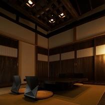 【別荘:閑-kan-ダイニング】長野・群馬の古民家を移築し、一年がかりで再生された別荘です。