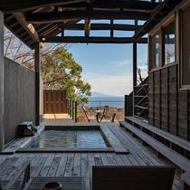 【別荘:閑-kan-】3つのお部屋と、専用露天風呂・内湯をご準備しています。贅沢なひと時を