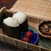【夕食一例】趣向を凝らした季節毎で異なるおにぎり。