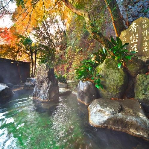 【秋/紅葉】紅葉する仙境野天風呂の風景