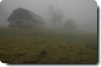霧の中の牧舎