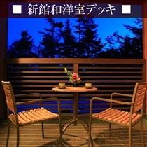 【新館和洋室例】デッキでゆっくり夕涼み・・・ビールを飲んだら最高ですね♪