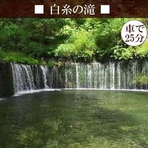 【白糸の滝】 どーみーから車で約25分。幅広く白糸のように落ちる滝はマイナスイオンいっぱいです♪