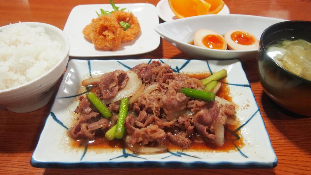 夕食(牛肉とニンニクの芽炒め)