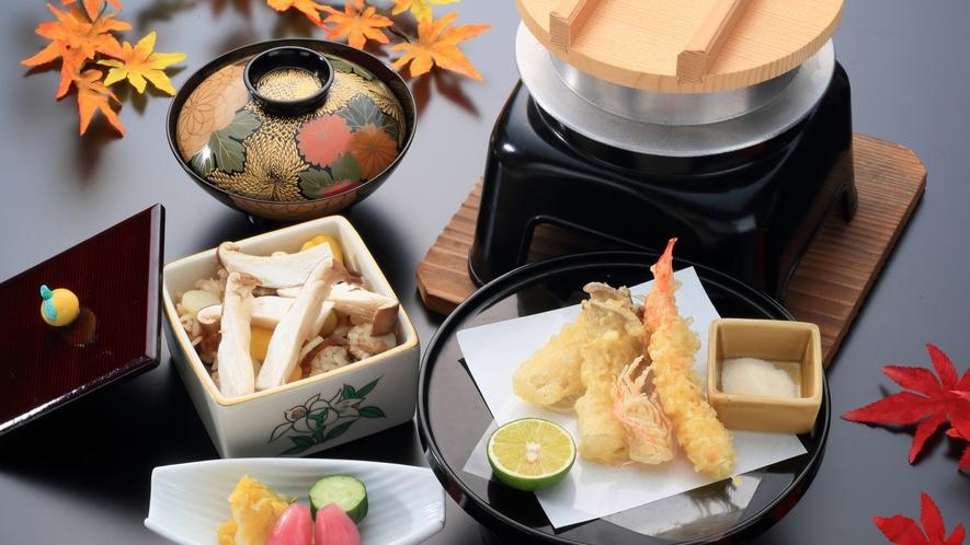 松茸と海老の天婦羅/松茸釜飯(松茸彩々プラン2021)