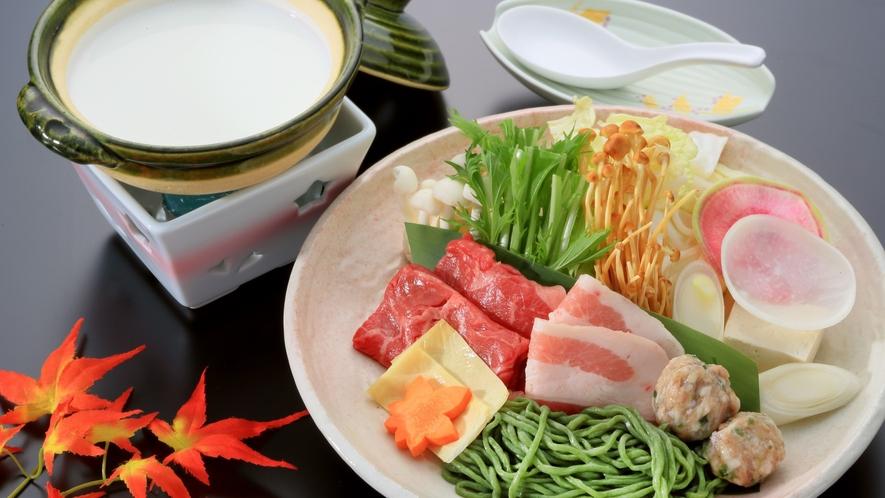 牛豚肉の豆乳仕立て鍋(青梅会席グレードアップ2021秋)