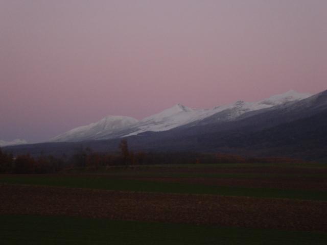 【秋】紫に染まる空と十勝岳連峰