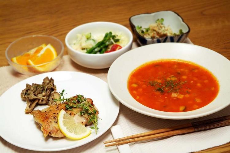 【食事】夕食一例・チキンソテー