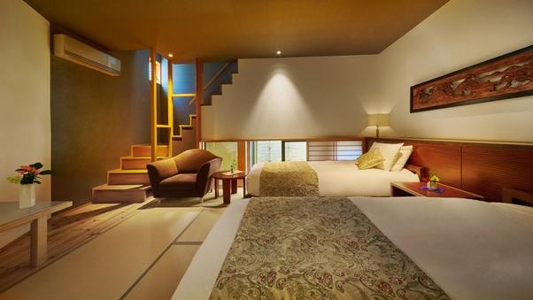 【禁煙】■和モダン×メゾネット[天然温泉+ベッド]部屋に階段