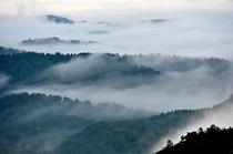 恐山展望台からの朝霧