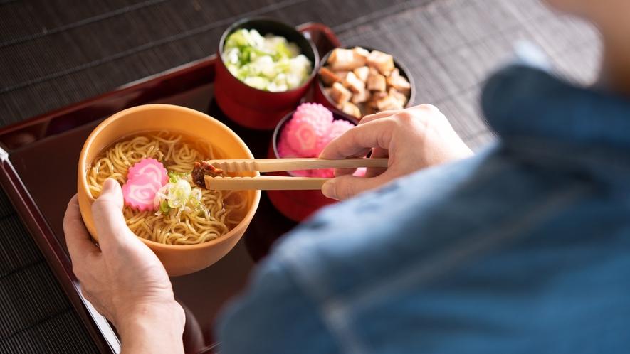朝食ブッフェ~旭川名物の醤油ラーメン