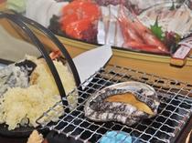 【季節の料理一例】蝦夷あわび、天ぷら