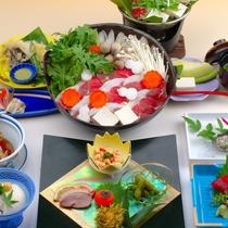 豆腐料理と猪鍋