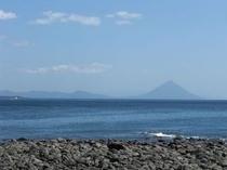 火の神公園から見た開聞岳(薩摩富士)