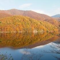 【秋】鏡のような、小野川湖