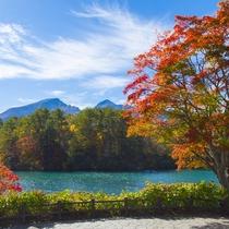 毘沙門沼と紅葉