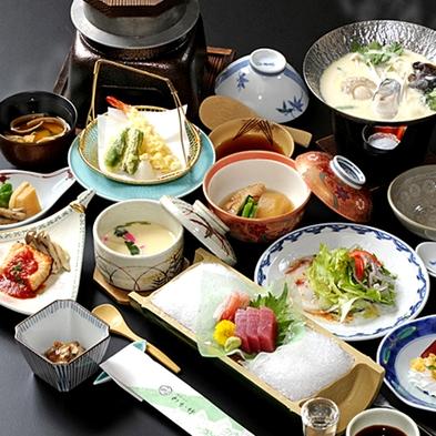 【日帰り・個室でごゆっくり】温泉でポカポカ&お料理『季節の会席料理8品+釜飯・汁+デザート』