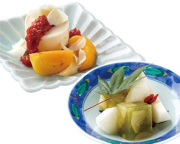 【腰の梅スイーツ】梨の梅酒寄せ・クリームチーズのムースと梅干しのコンフィチュール