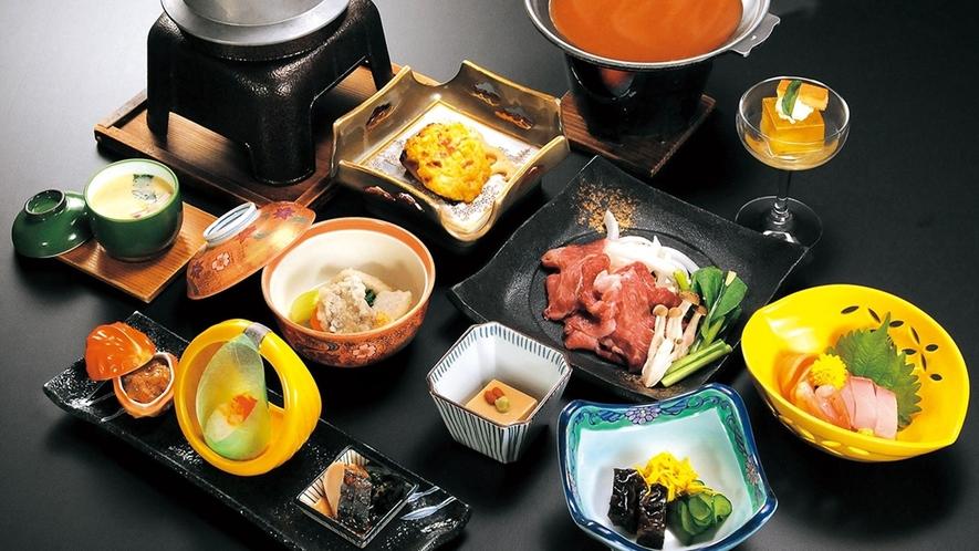 会席の料理(牛肉の陶板焼きデミソース)