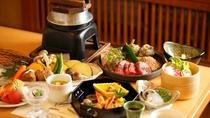 【炙り焼き会席】お肉とお野菜をご自身でロースターで焼いてお召し上がりいただく会席料理。