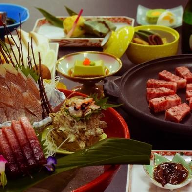 お魚もお肉も楽しみたいお方に人気【刺身の盛合せ&夏野菜と和牛陶板焼き】