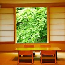 Aタイプ半露天風呂付き客室の室内イメージ。※内装や眺望はお部屋により異なり指定はできません。