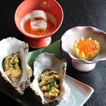 【年末年始限定】プランメニューセット、きぬた巻、柚子がまイクラ、牡蠣の黄身酢掛け