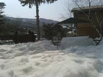 外で雪テーブル登場 春スキー