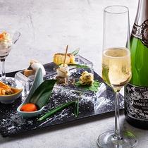 【2020冬のお献立】食事の始まりの前菜はシャンパンと一緒に