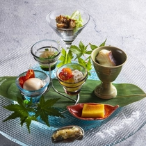 【2020夏のお献立】前菜/和と洋が織り交ぜられた北海道の旬の味をお楽しみください。