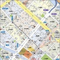 ②左に曲がったら矢印通りにGO!300m程でファミリーマート交差点(古門戸)を右に行けばホテルです★