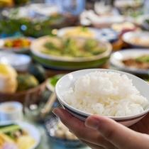 朝は美味しい御飯で一日スタート!野沢菜ほか美味しいお漬物もいろいろ取り揃えております。
