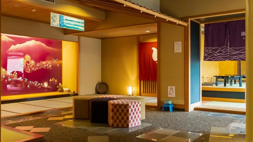 大浴場入り口、葵館からエレベーターで降りるとすぐ左手にございます。