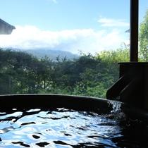 【貸切風呂・桜】大きな窓からは悠々と流れる天竜川を堪能できます。大人3名様でも十分な広さです!
