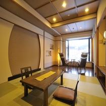 【コンフォート客室「燈AKARI」60平米】琉球畳とフローリングのモダンな構造が女性様から大人気♪