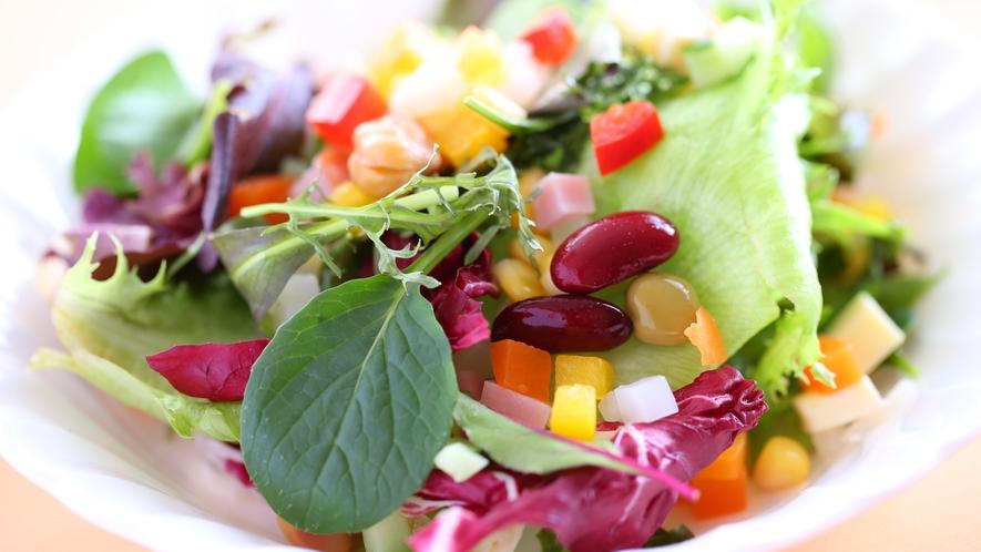 ある日のお料理一例 地元の食材をふんだんに使ったサラダ