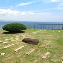 テラスから望む日本海