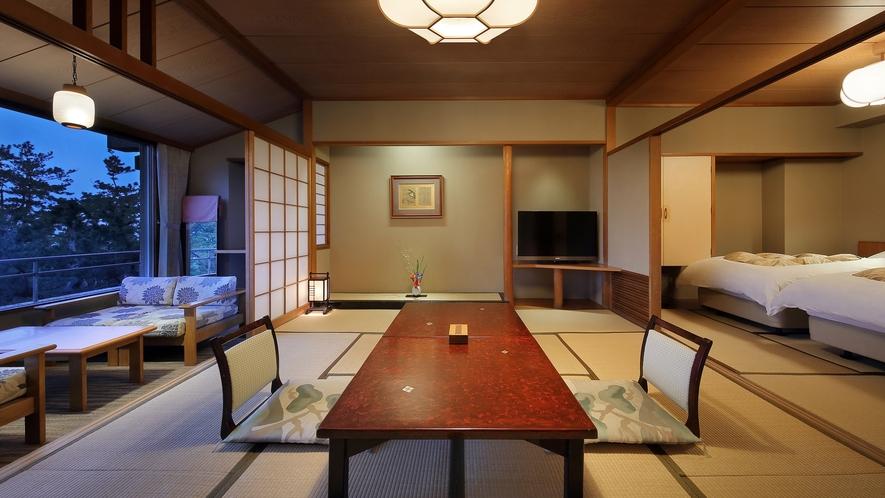 檜内風呂付和洋室(10畳+TWベッド+広縁+内風呂)_夜